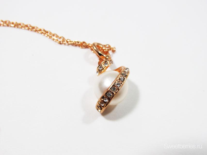 кулон с жемчугом золото
